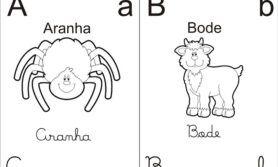 Alfabeto com 4 tipos de escrita da letra para sala de aula infantil
