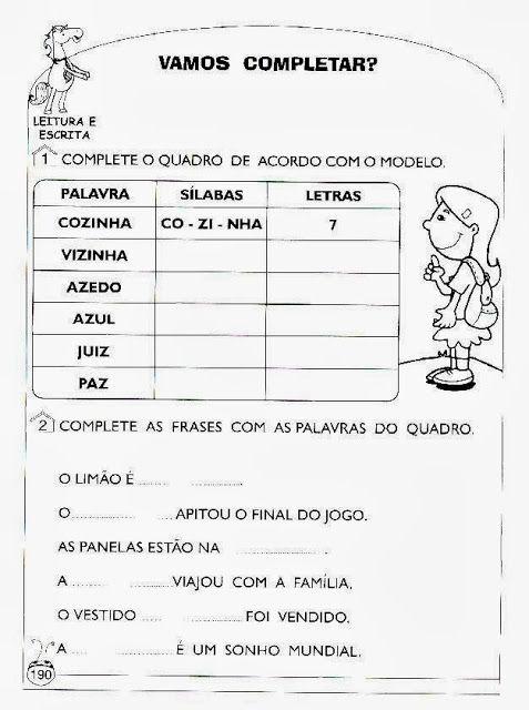 Exercícios de alfabetização e letramento