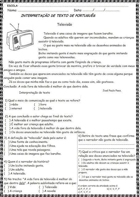 Textos curtos para interpretação para alunos do 4º Ano