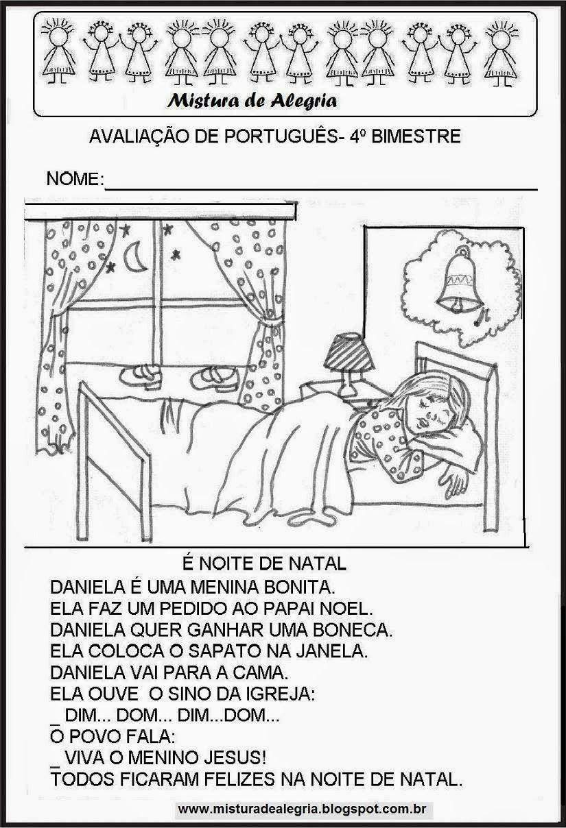 Avaliações de português para  1º ao 3º ano do ensino fundamental 4º bimestre