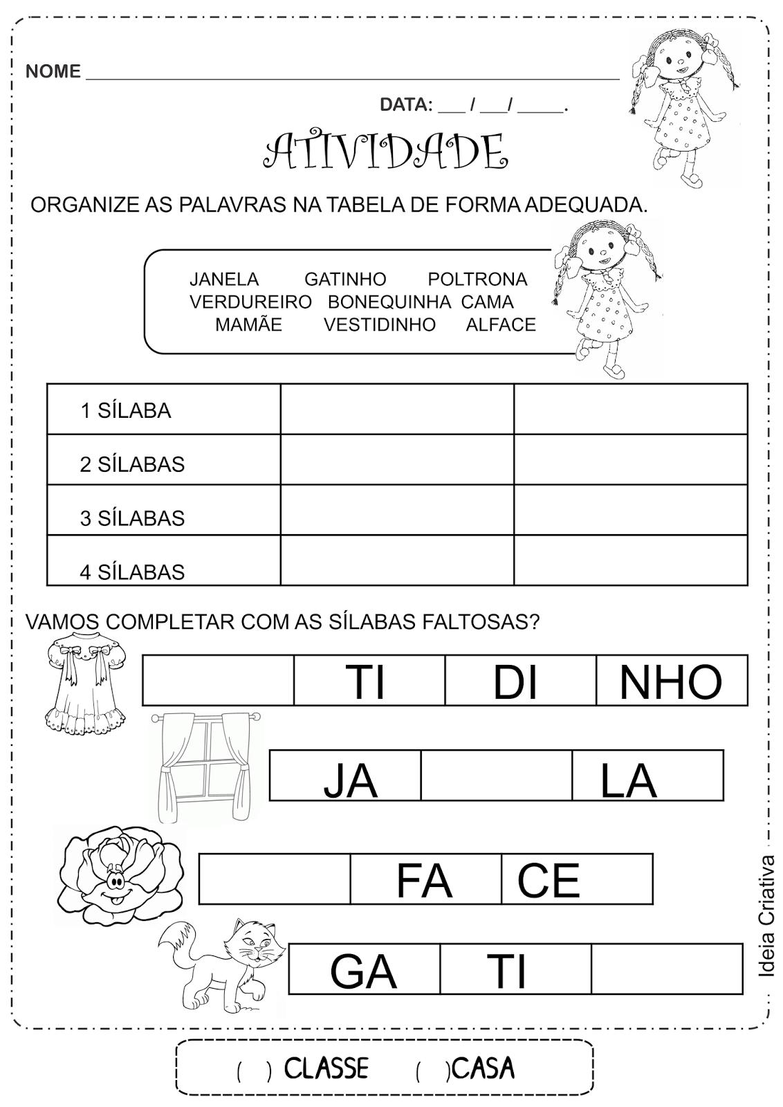 Atividade de alfabetização sílabas