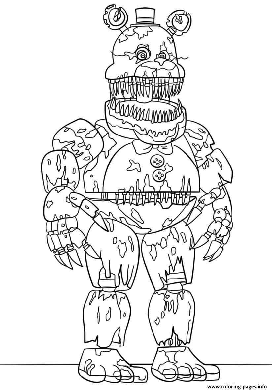 Desenhos animatronics quebrados para colorir