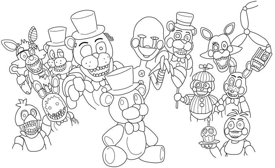 Desenhos de animatronics five nights at freddy's para colorir