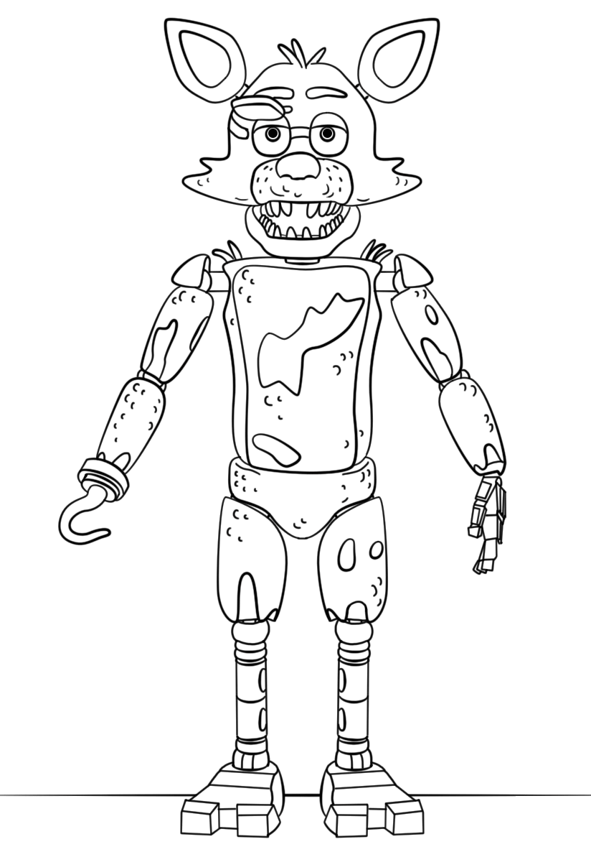 Desenhos de animatronics para colorir foxy