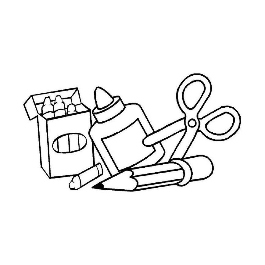 Desenhos de material escolar para colorir