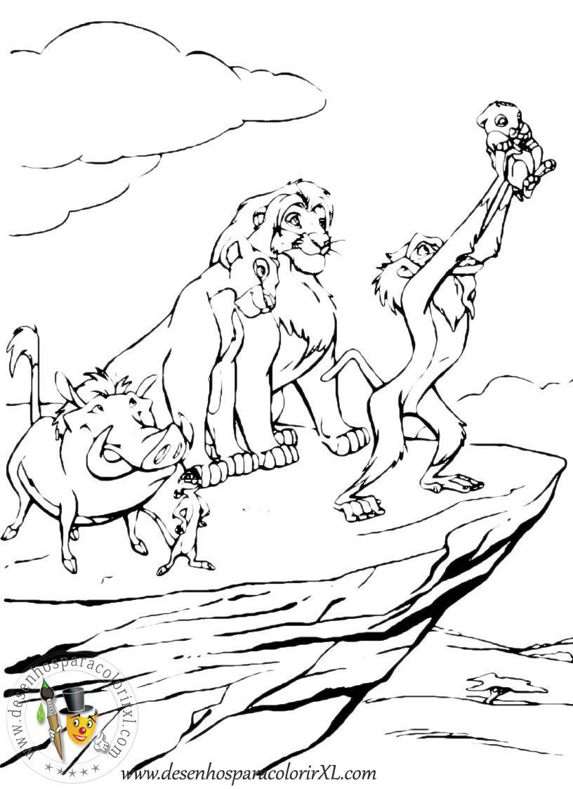 Desenhos do rei leão para colorir