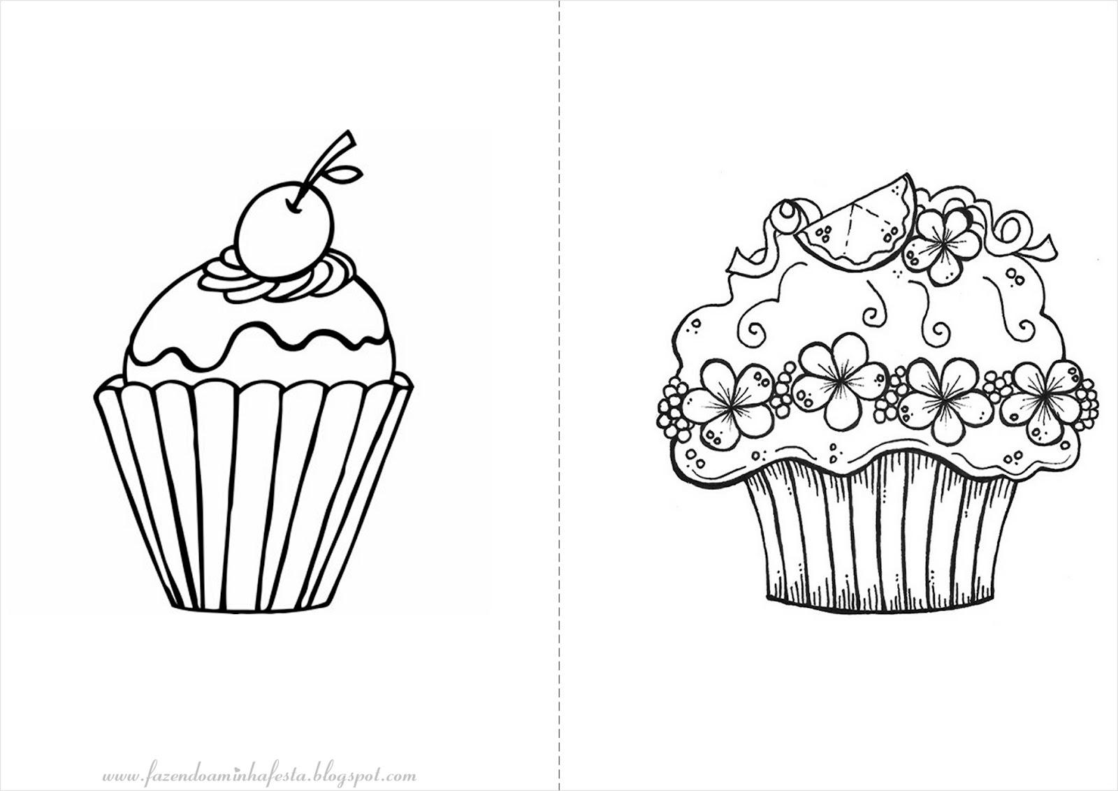 Desenhos de cupcake para colorir
